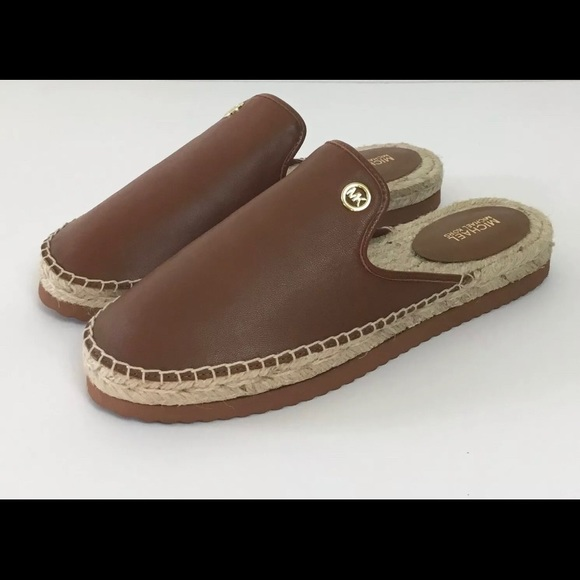 New MICHAEL KORS Leather Espadrille Mules Shoes